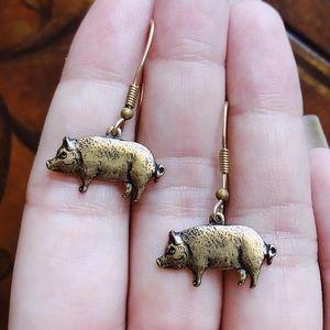 Vintage Antiqued Gold Tone Pig Earrings